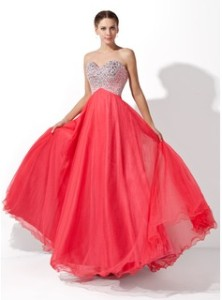 strapless coral formal gown with sequin bodice