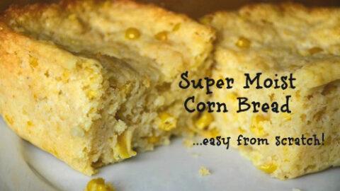 Moist Corn Bread with Corn Kernels