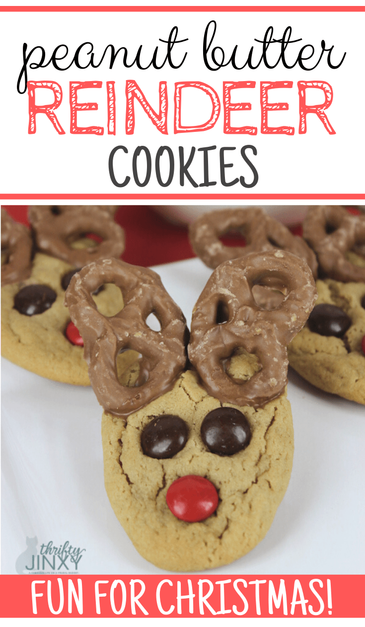 These reindeer cookies are super easy to make and decorate with chocolate covered pretzels. They'll add a lot of fun to your Christmas cookie plate! #cookies #ChristmasCookies #reindeer