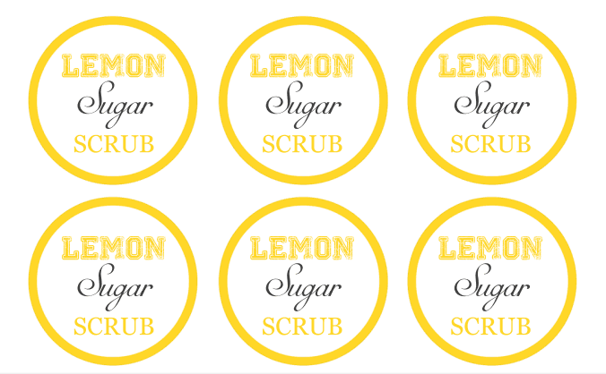 lemon sugar scrub labels