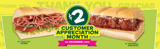 subway deal - customer appreciation month $2 sandwich