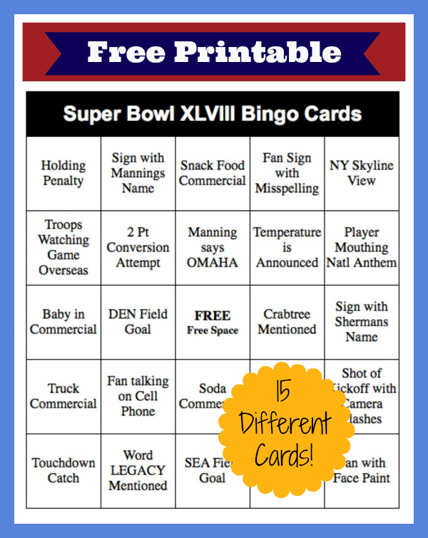 photo relating to Printable Super Bowl Bingo Cards identified as 2014 Tremendous Bowl Bingo Playing cards - Totally free Printable! - Thrifty Jinxy