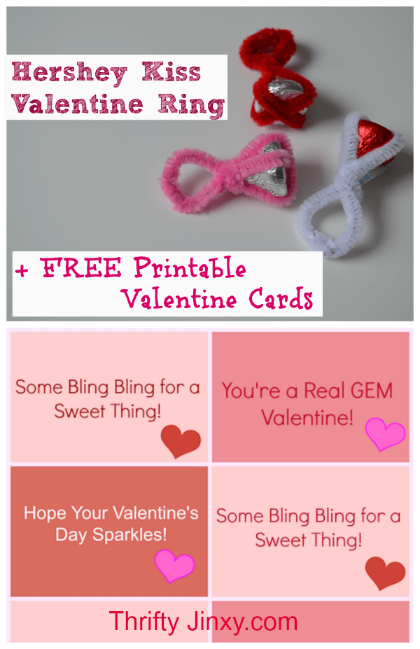 photo regarding Printable Valentine Craft referred to as Hershey Kiss Ring Valentine Craft with Printable Playing cards