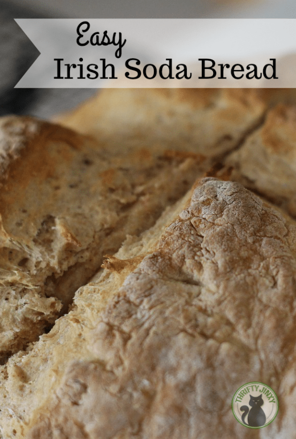 This Easy Irish Soda Bread recipe is just slightly sweet and delicious with a buttery crust. It uses ingredients you probably already have in your kitchen! #bread #sodabread #Irish