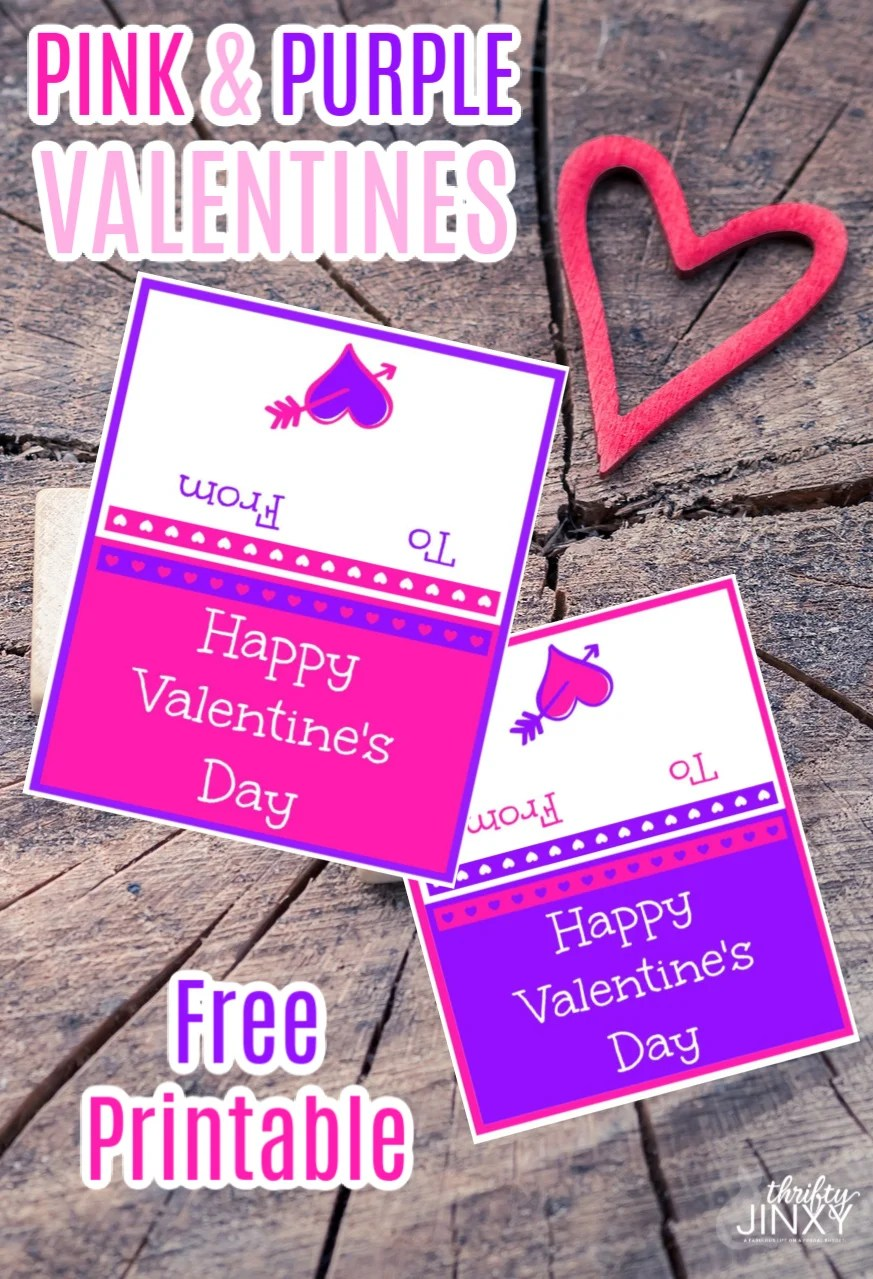 Free Printable Pink and Purple Valentines