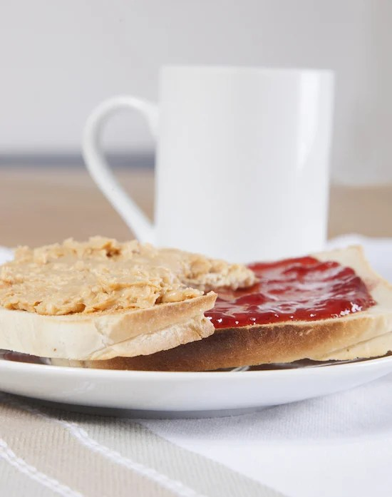 Strawberry Jam and Peanut Butter on Toast with a Cup of Coffee
