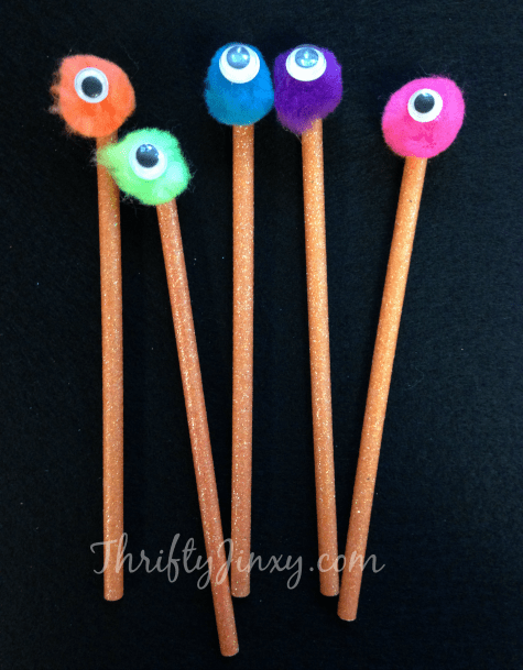 DIY Spooky Monster Pencils Craft with Googly Eyes