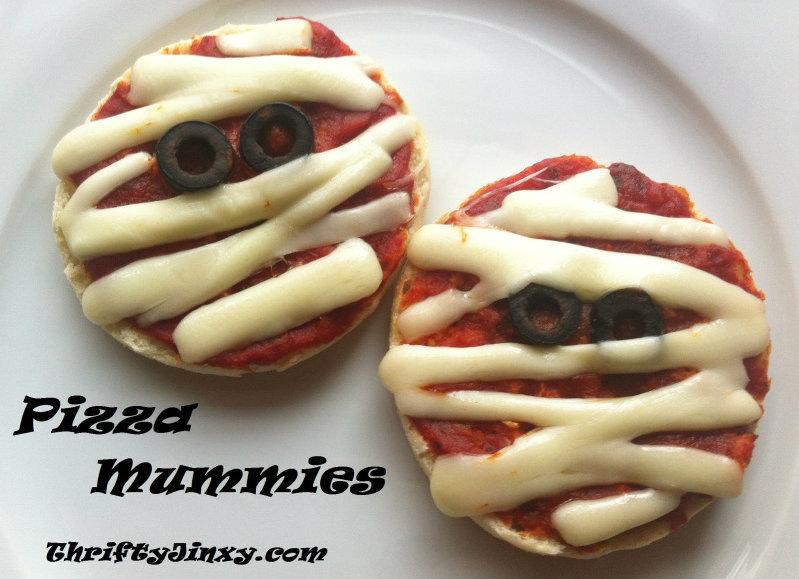 Fun Halloween Recipe Mummy Pizzas Thrifty Jinxy