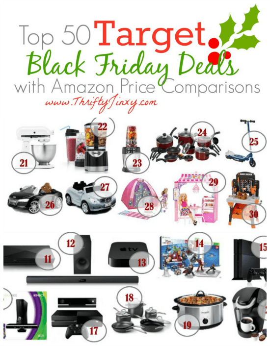 Top 50 Target Black Friday Deals with Amazon Price Comparisons
