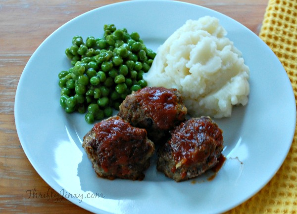 Brown Sugar Ketchup Glazed Meatballs with mashed potatoes and peas