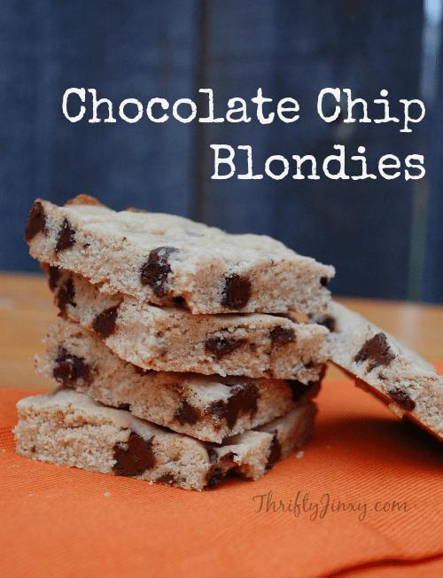 Chocolate Chip Blondies Recipe with Splenda