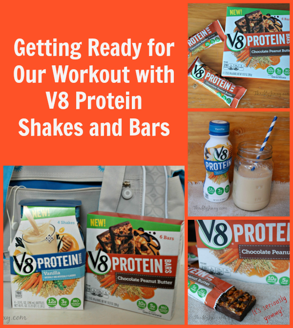 Getting Ready for Our Workout with V8 Protein Shakes and Bars
