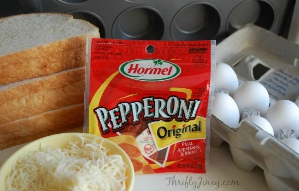 Pepperoni Breakfast Cups Recipe Ingredients with Hormel Pepperoni