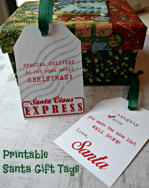 graphic about Printable Santa Gift Tags named Printable Santa Present Tags and Other Cost-free Santa Printables