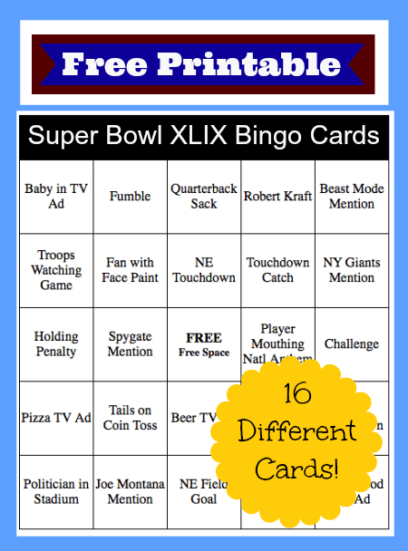 graphic about Printable Super Bowl Bingo Cards known as 2015 Tremendous Bowl Bingo Playing cards Absolutely free Printable! - Thrifty Jinxy