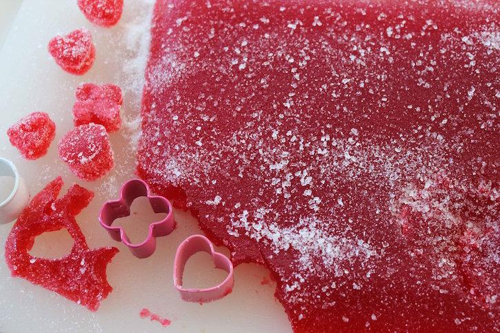 Cutting Valentine Gum Drops