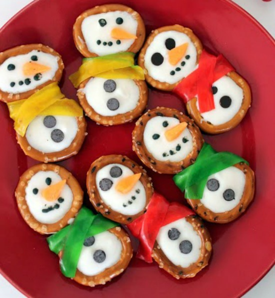 Snowman Pretzels Recipe for Winter