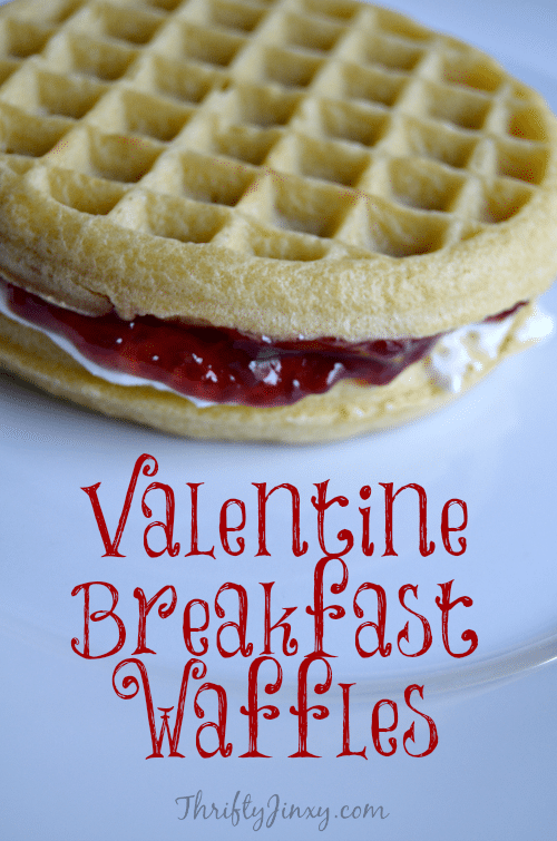 This Valentine Breakfast Waffles Recipe is perfect for Valentine's Day, but is so yummy that you will want to eat it all year round! #breakfast #brunch #waffles #ValentinesDay
