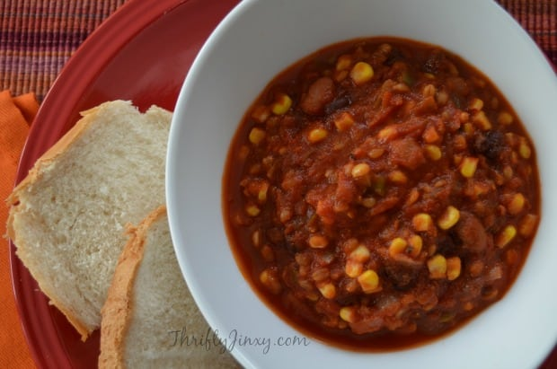 Vegetarian Crockpot Chili with Bulgur Wheat in bowl with bread on plate