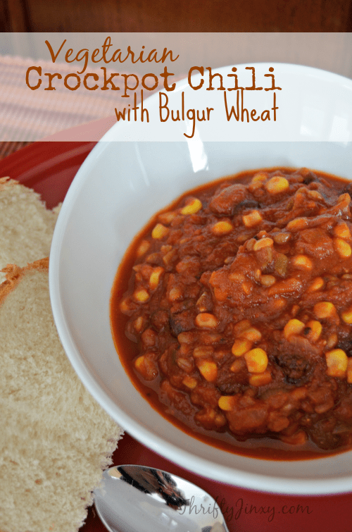 Even if you're a meat lover, you won't miss the meat in this Vegetarian Crockpot Chili that is extra hearty thanks to the addition of bulgur wheat. So good!