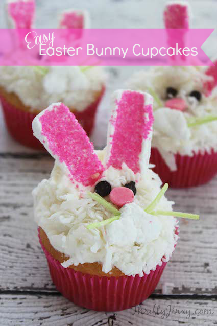With their little pink ears and noses these Easter Bunny Cupcakes Recipe add a big dose of cuteness to a dessert tray or Easter basket.
