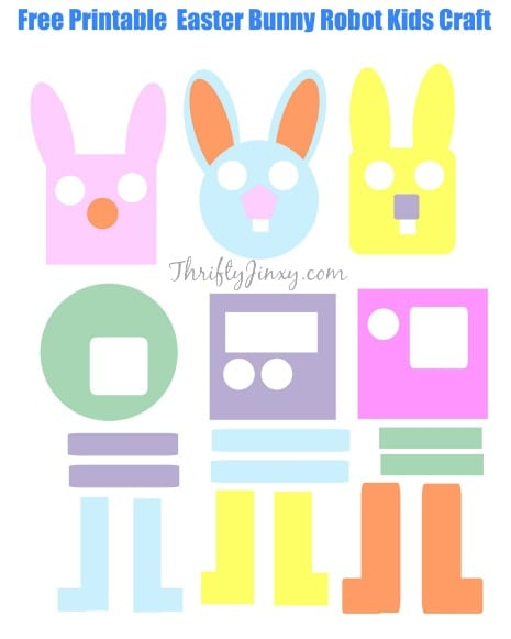 picture about Printable Easter Bunny identified as Totally free Printable Easter Bunny Robotic Youngsters Craft - Thrifty Jinxy