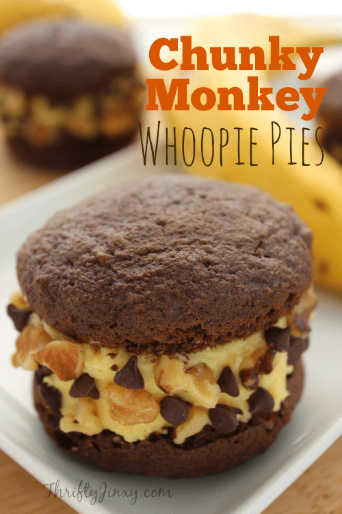 This Chunky Monkey Whoopie Pies Recipe gives the classic treat a whole new spin with a banana filling and walnut and chocolate chip garnish.