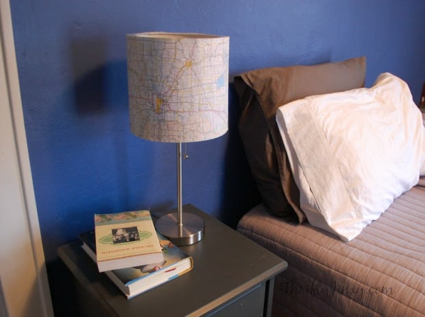 DIY Map Lamp Makeover Bedroom