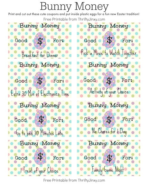 Easter Bunny Money Printable