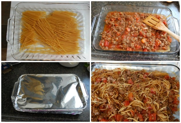 Spaghetti and Garlic Bread Bake Recipe Process
