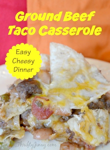 This Ground Beef Taco Casserole Recipe is an easy weeknight dinner to get on the table in a hurry. #casserole #groundbeef #texmex