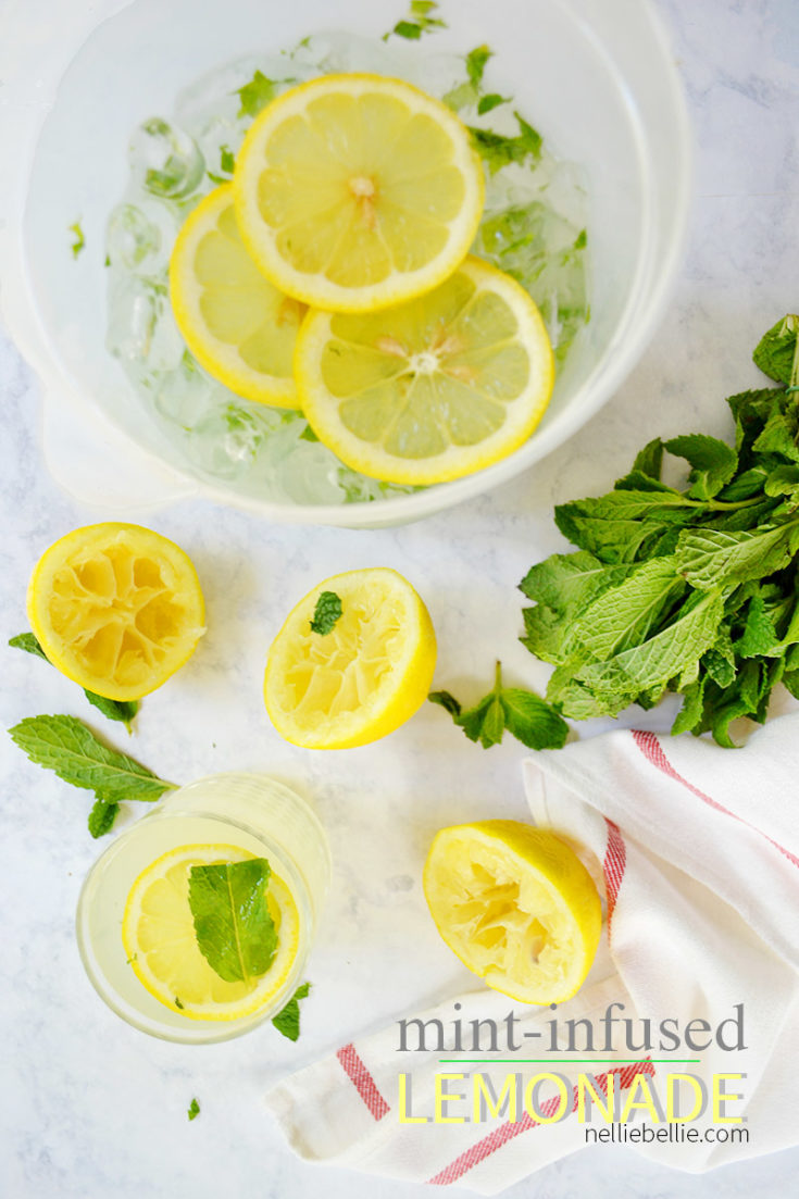 This Mint-Infused Lemonade recipe is simple, fast, easy to make in large amounts (think parties), beautiful to look at, uses fresh and real ingredients, and extra refreshing. #lemonade #summerdrinks #beverages