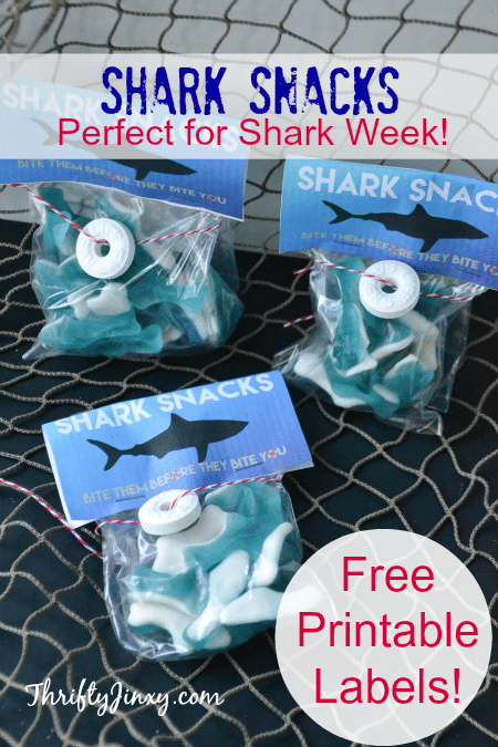 These DIY Shark Snacks with Free Printable Labels are perfect for celebrating Shark Week!