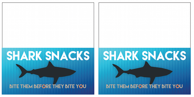 Printable Shark Snack Labels