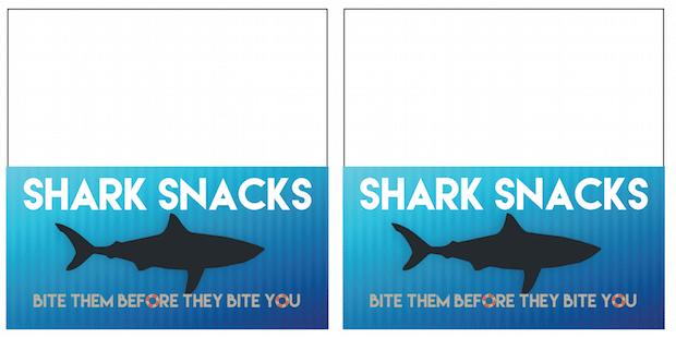 Printable Shark Snack Labels
