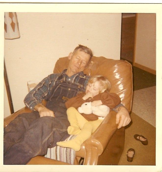 Grandfather Little Girl Asleep in Recliner