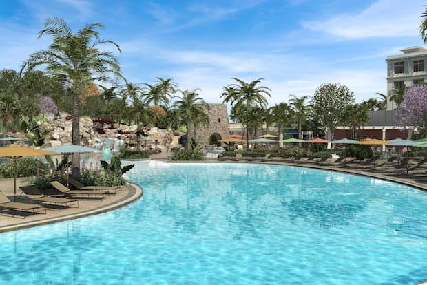 Guests can now book reservations at Loews Sapphire Falls Resort for stays beginning July 14, 2016. Built around a lush, tropical lagoon and towering waterfall, the new, 1,000-room Caribbean-themed hideaway is the fifth hotel at Universal Orlando and will bring the number of on-site hotel rooms to 5,200. Images shown are conceptual representations, details are subject to change.   © Universal Orlando Resort, 2015.
