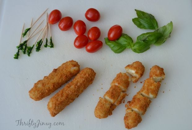 Mozzarella Stick Caprese Bites Recipe Process