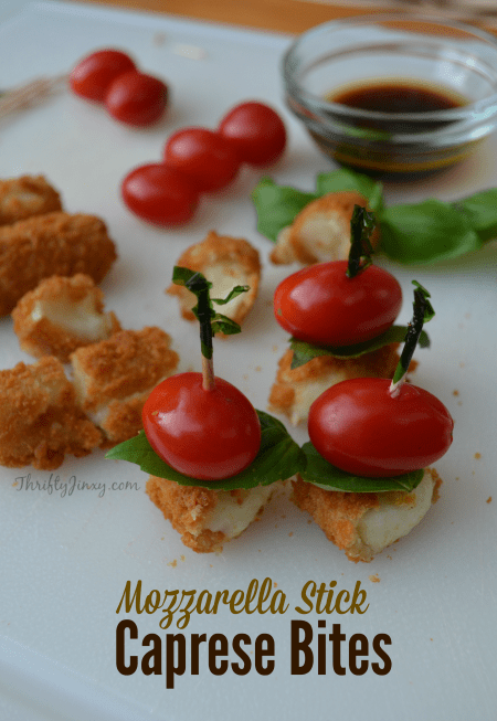 Make a quick, easy and delicious appetizer starting with frozen cheese sticks. #appetizer #caprese