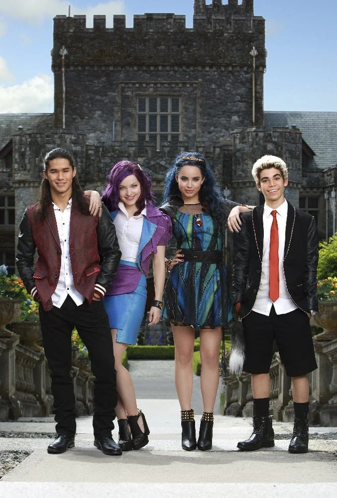 "DESCENDANTS - Disney Channel's original movie ""Descendants"" stars Booboo Stewart as Jay, Dove Cameron as Mal, Sofia Carson as Evie and Cameron Boyce as Carlos. (Disney Channel/Eike Schroter)"