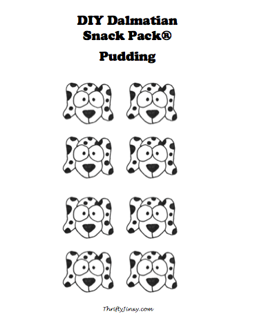 Printable DIY Dalmatian Snack Pack Pudding Template