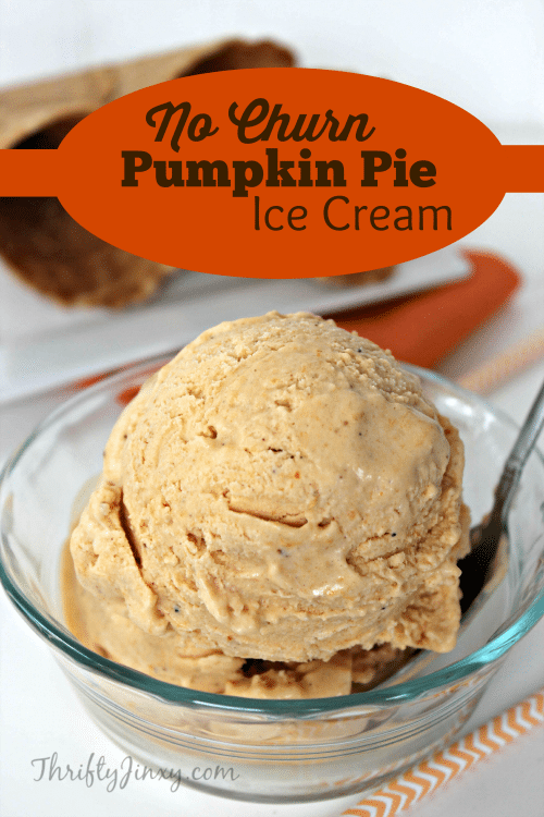 This No Churn Pumpkin Pie Ice Cream Recipe is easy to make with no special equipment needed. Just mix together 5 ingredients and let it set in the freezer. #icecream #pumpkin #PumpkinIceCream