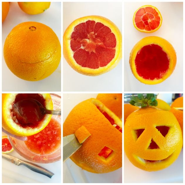 Orange Fruit Jack-O-Lantern Directions