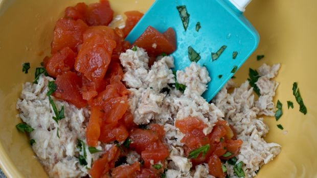 Tuna Tomato Dippers Recipe Mixing