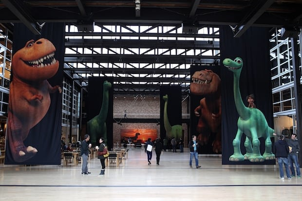 The atrium, with The Good Dinosaur artwork, as seen on September 30, 2015 at Pixar Animation Studios in Emeryville, Calif. (Photo by Deborah Coleman / Pixar)