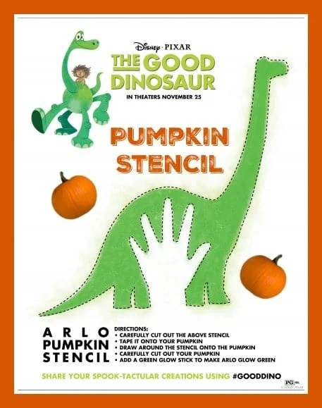 The Good Dinosaur Pumpkin Stencil