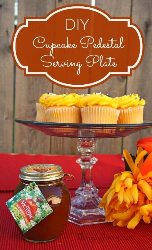 This DIY Cupcake Pedestal Serving Plate is easy to make with a dinner plate and candlestick. You can use mismatched thrift store pieces for a vintage flair.