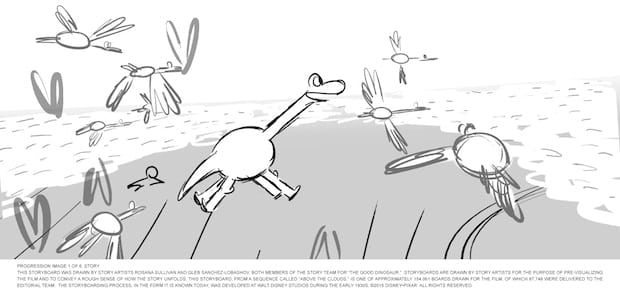 "PROGRESSION IMAGE 1 OF 6: STORYThis storyboard was drawn by story artists Rosana Sullivan and Gleb Sanchez-Lobashov, both members of the Story team for ""The Good Dinosaur.""  Storyboards are drawn by story artists for the purpose of pre-visualizing the film and to convey a rough sense of how the story unfolds. This storyboard, from a sequence called ""Above the Clouds,"" is one of approximately 154,061 boards drawn for the film, of which 87,748 were delivered to the Editorial team.  The storyboarding process, in the form it is known today, was developed at Walt Disney Studios during the early 1930s. ©2015 Disney•Pixar. All Rights Reserved."