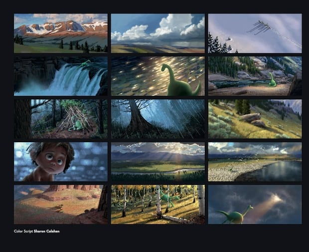 THE GOOD DINOSAUR - Color script by Sharon Calahan. ©2015 Disney•Pixar. All Rights Reserved.