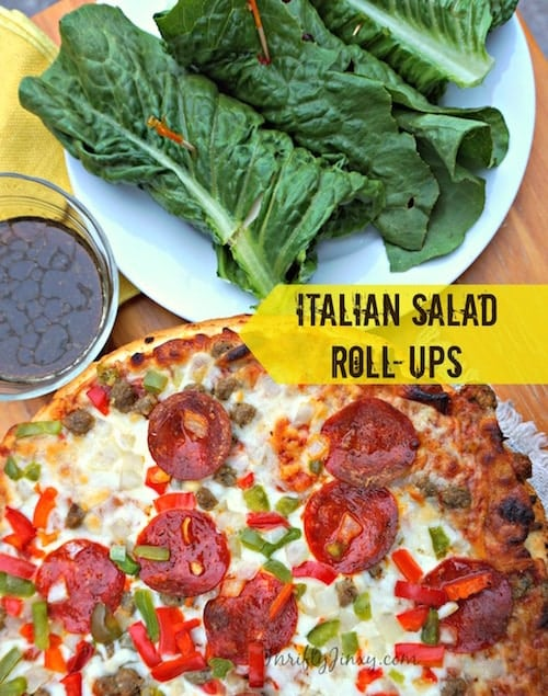 Italian Salad Roll-Ups Recipe - Romaine, Provolone, Roasted Peppers and Salami combine for a perfect hand-held salad. Serve with balsamic dressing for dipping!